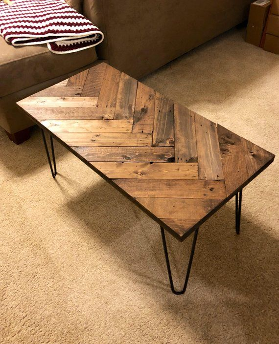 Herringbone Coffee Table With Hairpin Legs, Coffee Tables, Wooden Pallet Table, Sofa Table, Pallet Furniture, Rustic Table, Entry Table