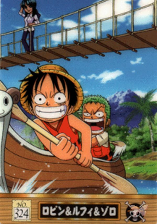 One Piece Trading Card - King of Pirates Gummy Card Part 3 (Defying Justice Edition): 324 Robin & Luffy & Zoro (Robin Luffy and Zoro)