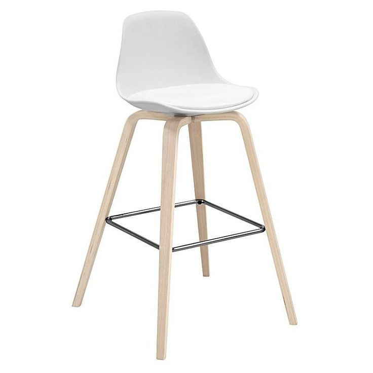 Totana Modern Oak Legs Bar Stool With Plastic Seat In White Set Of