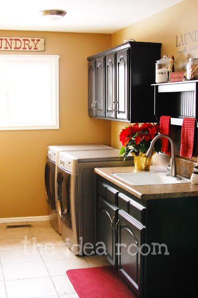 Laundry rooms have to be pretty...to much time spent there!: Utility Sink, Red Color, Rooms Nic Colors, Red Accent