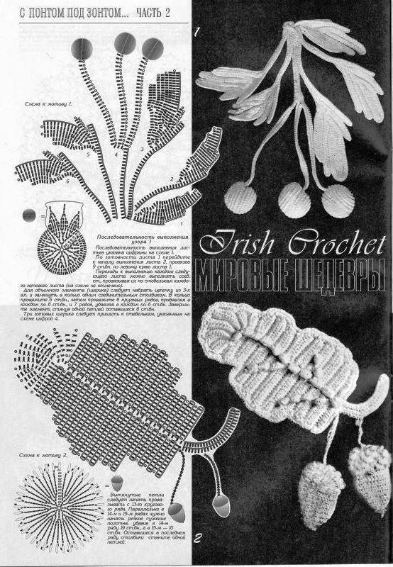 Patrones de hojas a crochet: Irish Crochet, De Hojas, Crochet Irland, Crochet Flower, Crochet Irish, Crochet Freeform, Crochet Lac, Irish Lace, Foglie Crochet