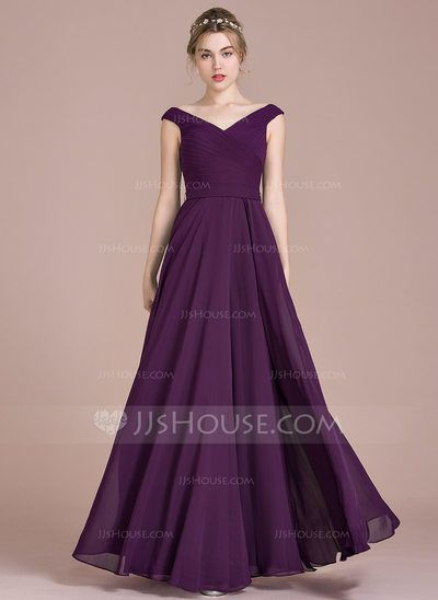 [US$ 99.99] A-Line/Princess Off-the-Shoulder Floor-Length Chiffon Bridesmaid Dress With Ruffle (007104732)