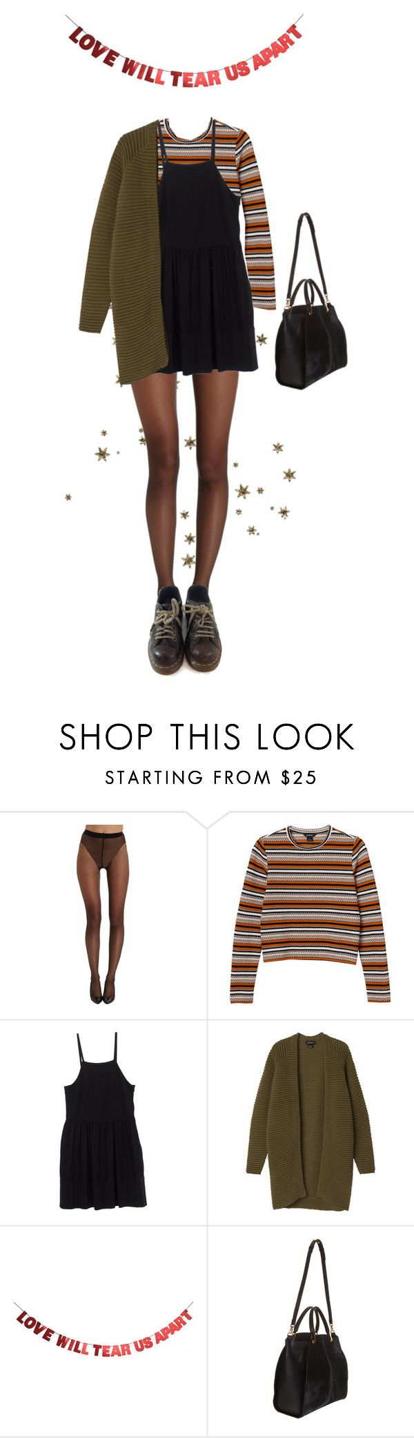 """Untitled #100"" by borninthe1990s ❤ liked on Polyvore featuring Wolford, Monki, Miu Miu, WALL, Maiyet and Dr. Martens"