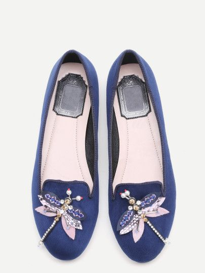 Zapatos planos adorno libélua con cuentas y strass - azul