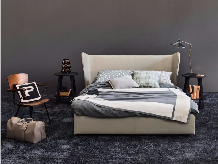 Leather double bed with upholstered headboard BERGERE by Letti