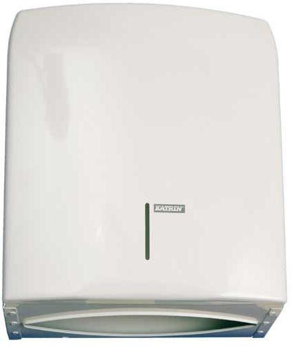 Dispenser metalic alb Katrin pentru prosoape de hartie. Dozare economica si igienica!