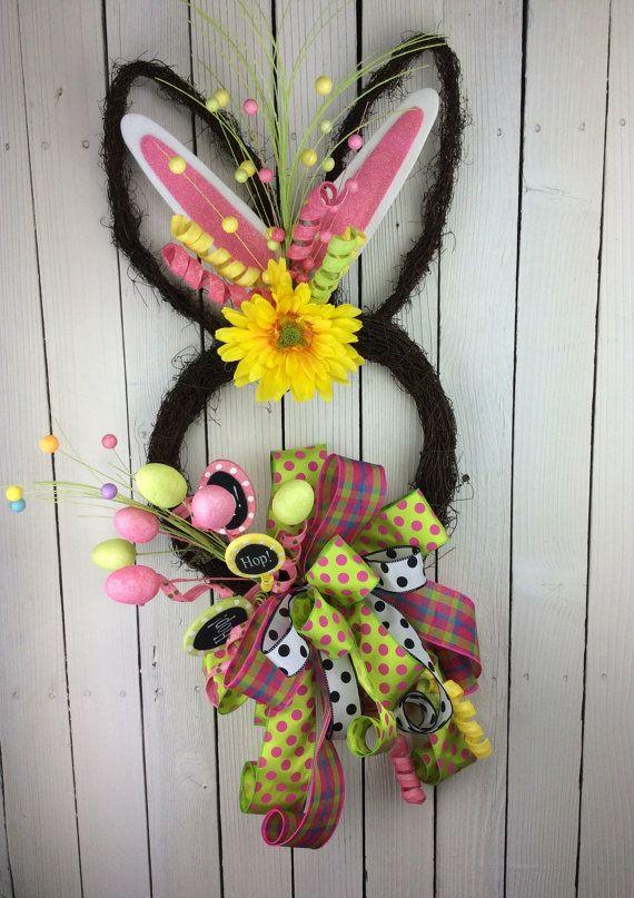 Easter Bunny Couronne, Pâques porte décor, Bunny porte décor, couronne de Pâques, lapin tête Couronne, couronne de lapin de Pâques, Double porte Couronne, couronne de Bunny