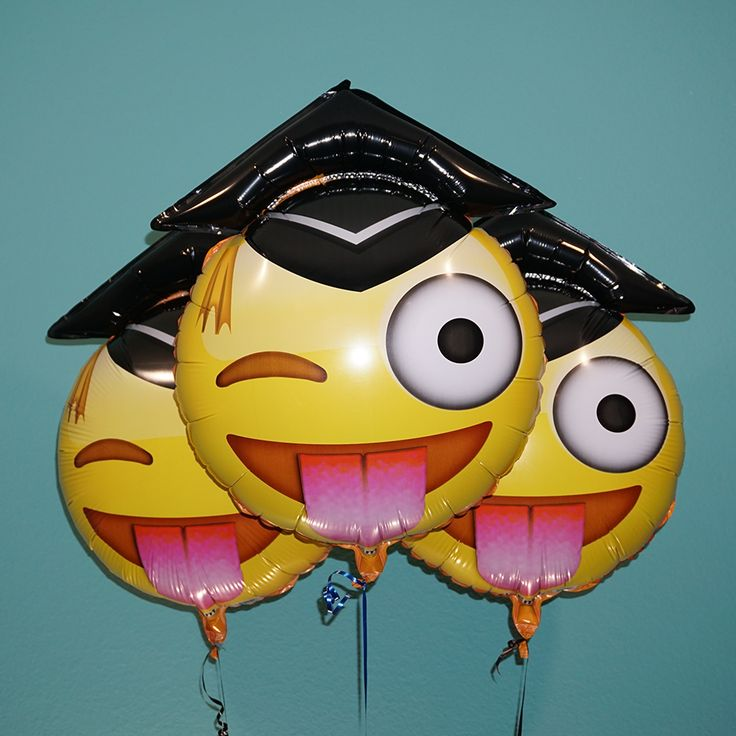 What better way to celebrate your graduate than with their favorite emoji helium balloons? These big yellow balloons feature the winking emoji with tongue out and are high-quality, fun and unique. Emo                                                                                                                                                                                 More