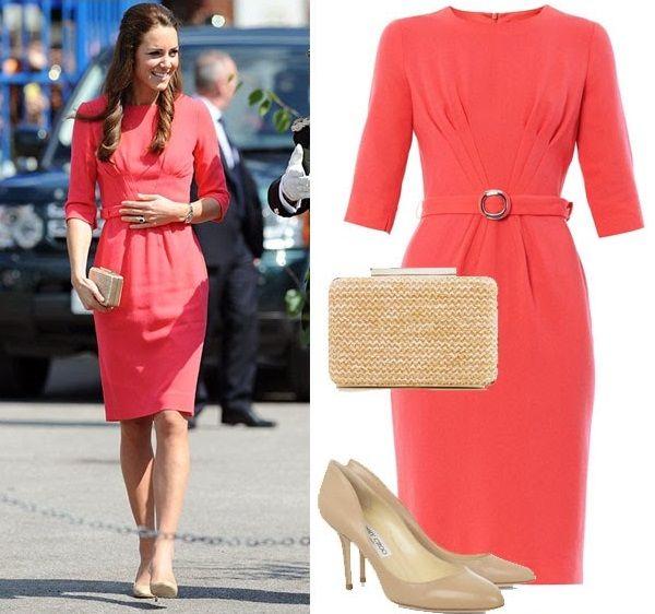 Красно-оранжевое платье Кейт Миддлтон, фото.
