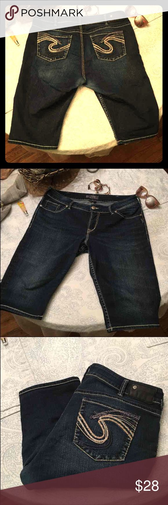 "Silver Jean Shorts SZ 16 Women's These are women's size 16 Jean Shorts. Stretchy jeans. Waist measures 19"" when laying flat.   Happy to bundle :)  Lots of Victoria Secret, Pink, Nike, Under Armour, Lululemon, Patagonia, Miss Me, and other Buckle items to list. Follow me to check out the great deals. I'm always happy to bundle. Silver Jeans Shorts Jean Shorts"