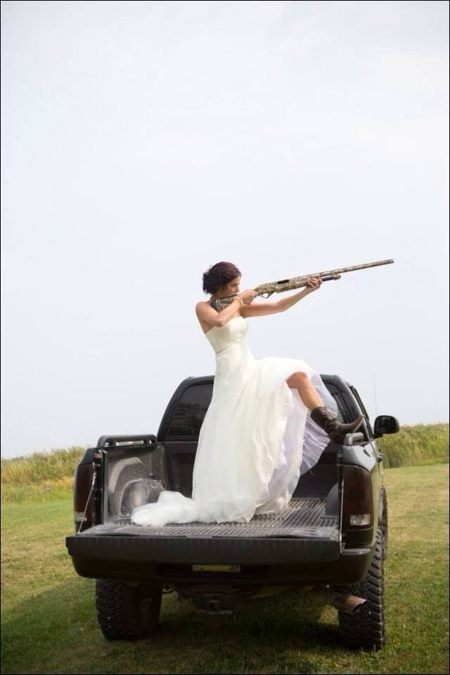 Bride In Back Of Truck With Shot Gun Pic Country Wedding
