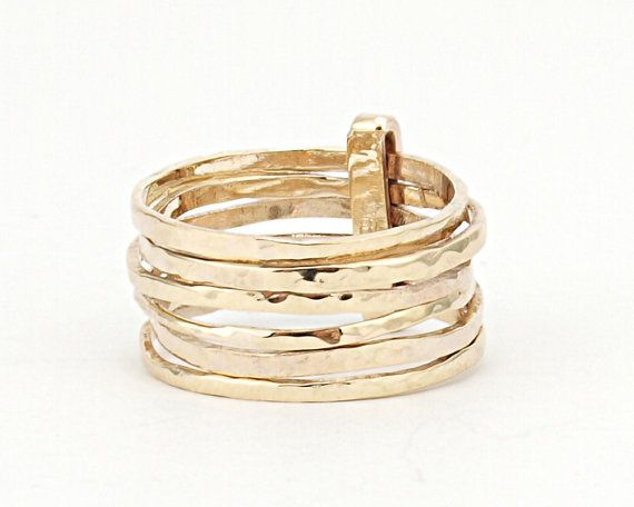 Hammered Skinny Rings Set of 7 Ring Made of Solid by LIRANSHANI