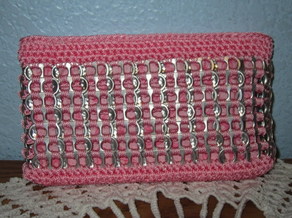 Pink Upcycled Pop Tab Clutch. $24.00, via Etsy.