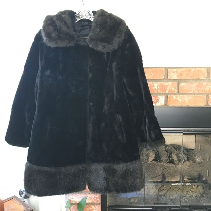 Vintage Black Faux Fur Jacket by Collins & Aikman contradting black fur trim mens womens oversized pockets lined sale perfect snap button by VELVETMETALVINTAGE on Etsy