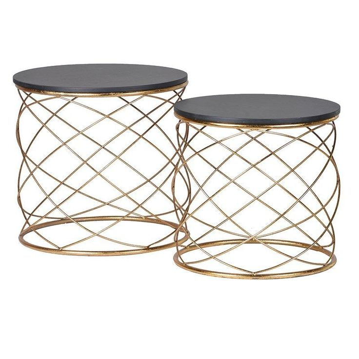 Set Of 2 Gold Loops End Tables H 450 Dia 460 £103
