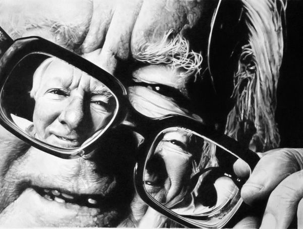 Ray Bradbury - Pencil portrait of Ray Bradbury. The play made on drawing the glasses makes the subject look more interesting and come to life.