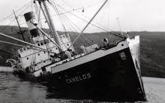 Barco hundido en el río Valdivia para el terremoto de 1960