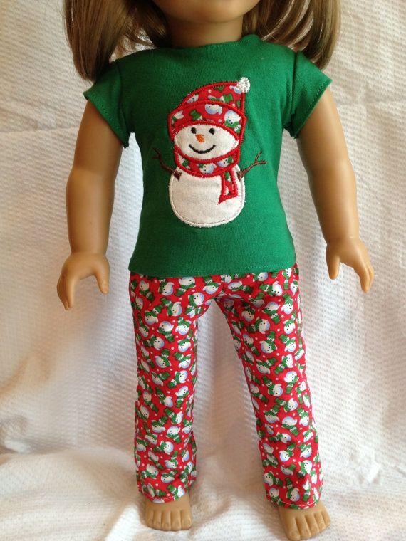 American Girl Doll PJ Pajama Set Christmas Set by wmartin13, $14.99