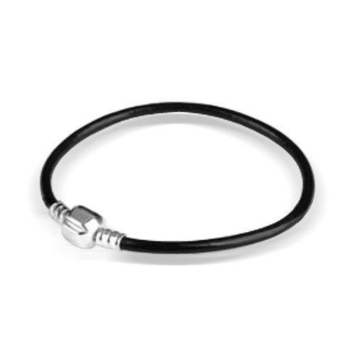 Bling Jewelry Black Leather 925 Sterling Silver Barrel Clasp Bracelet Pandora Pugster Charm Compatible http://shorl.com/stymuhenokyru