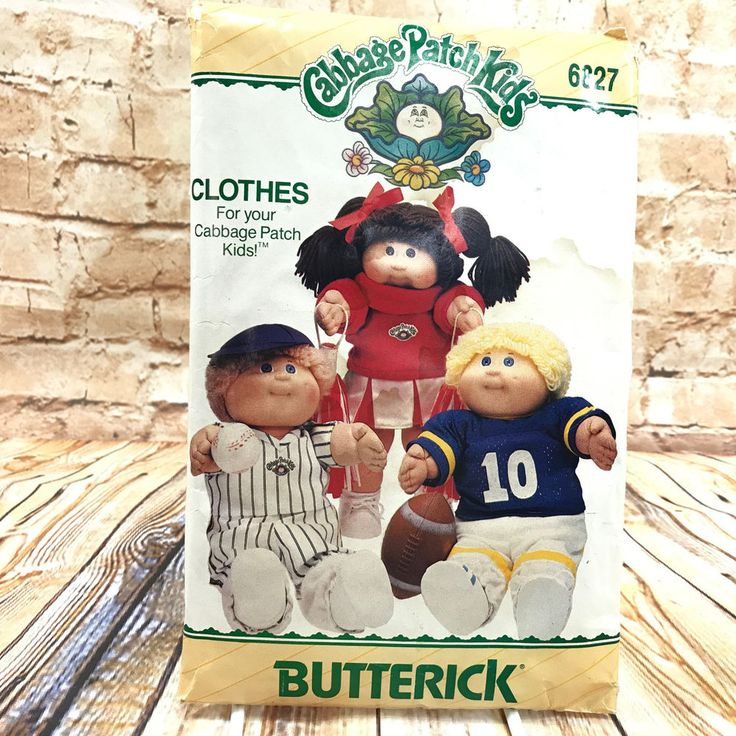 Butterick 6827 Cabbage Patch Kids Clothes Baseball Football Cheerleader Pattern #Butterick