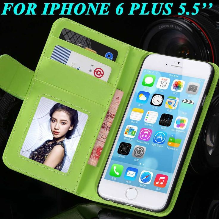 Leather Wallet Case with Photo Frame Card Slot for iPhone 6/Plus