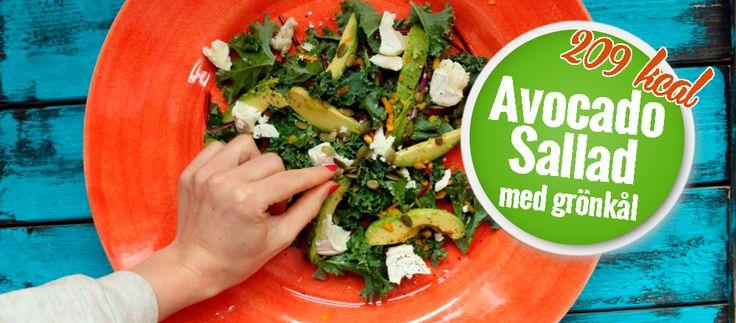 Avocadosallad med grönkål och getost 209 kcal - 5:2 dieten - Näringsrika, kalorieffektiva & goda recept