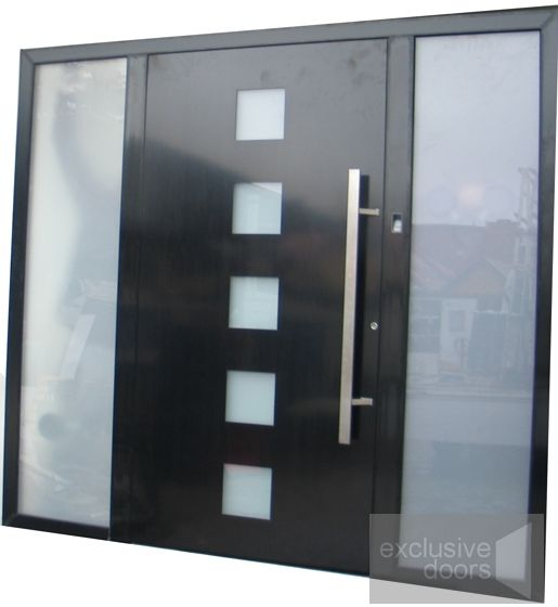 Solid Entrance Door with two sidelights and fingerprint reader