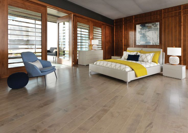 Mirage Floors, the world's finest and best hardwood floors.  Maple Rio  #maple #rio #admirationcollection #bedroom #grey #hardwood #mirage #design