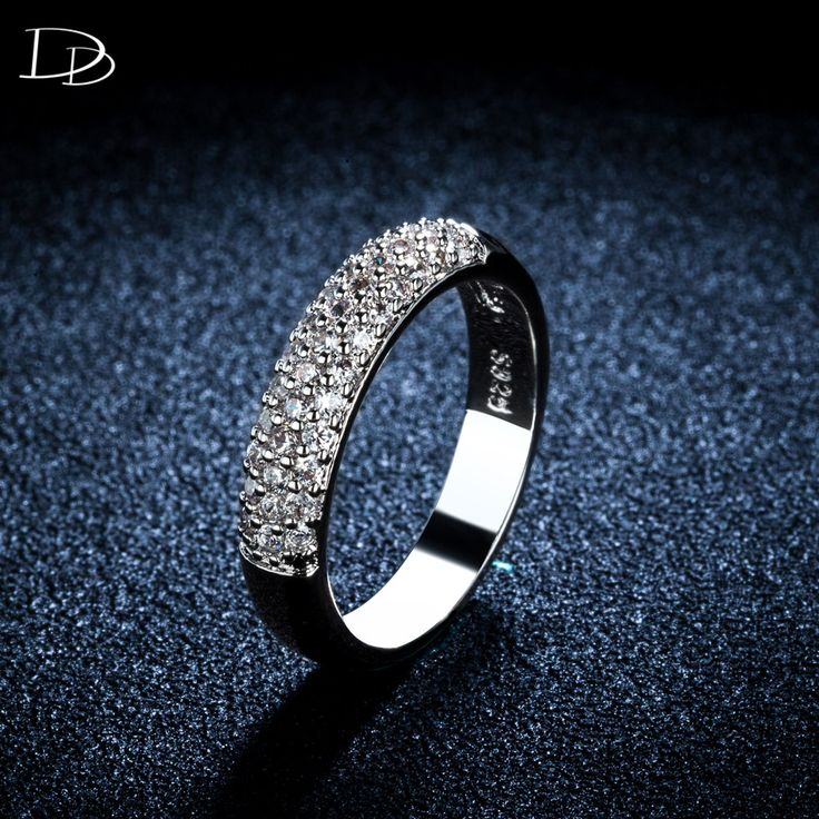 round  white gold plated ring for women AAA CZ diamond excellent rings wedding engagement jewelry crystal aneis bague DD037