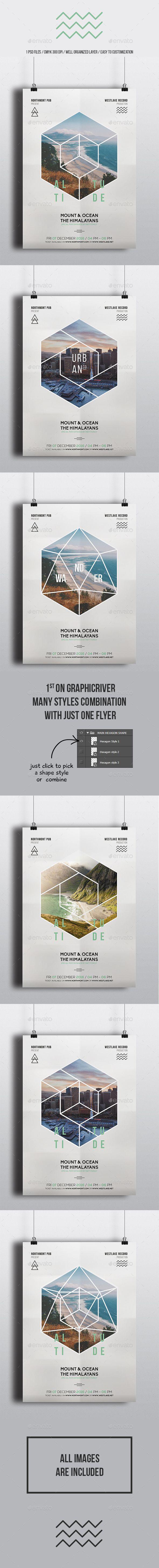 Geometric Gig Minimal Flyer — Photoshop PSD #geometric #alternative • Availa...