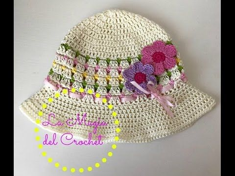 Patrones Crochet, Manualidades y Reciclado: SOMBRERO DE VERANO PASO A PASO CON VÍDEO TUTORIAL - SUMMER HAT WITH STEP BY STEP TUTORIAL VIDEO