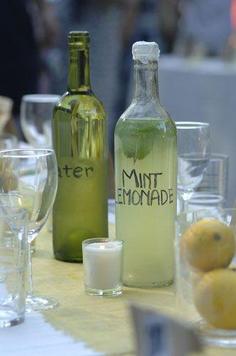 recycled wine glass beverage dispensers: Sweet Tea, Mint Lemonade, Wine Tasting, Recycled Wine Bottle, Old Bottle, Wine Glasses, Backyard Wedding, Chicken Gyros, Old Wine Bottle