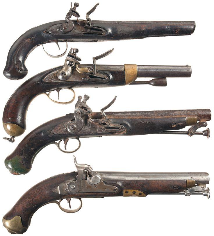 Old Flintlock Pistols | Four Antique Pistols -A) Engraved Flintlock Pistol