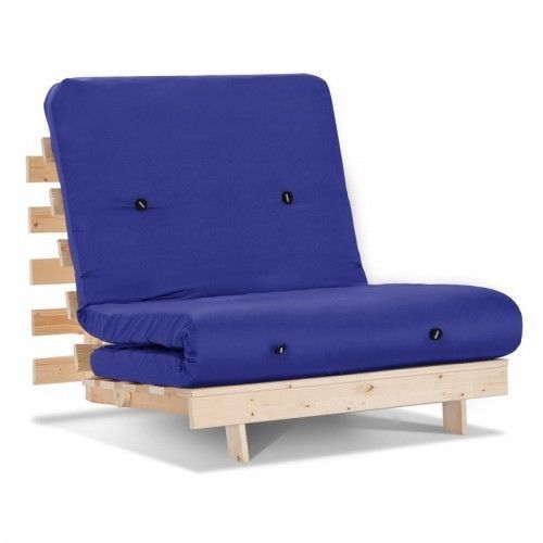 Sleeper Sofas Blue Futon Chair Single Sofa Bed Lounge Kids Teens Student Guest Bed Play Room