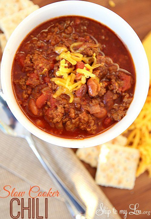 This slow cooker chili is delicious and the perfect cold weather meal! It one of those easy dinners you will use over and over. www. skiptomylou.org #slowcookerrecipes #crockpotchili #crockpotrecipes #easydinnerrecipes #recipes