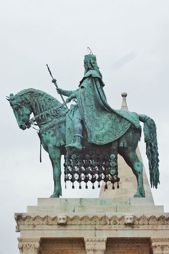 Statue of St.Stevens  (First King of Hungary) on Trinidy Squere, Budapest, Hungary