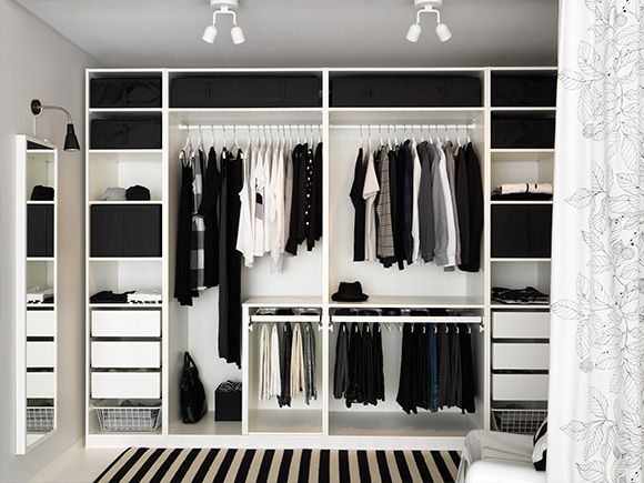Open wardrobe black and white
