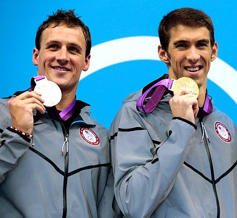 """Even amongst """"rivals"""".  Great entertainment from these two in London.: London2012, London 2012, Michael Phelps, 2012 Olympics, Ryan Lochte, London Olympics, Olympics 2012, 2012 London, Swimming"""