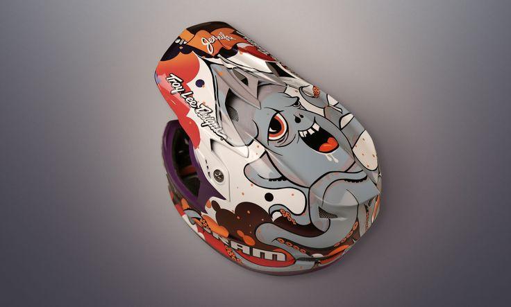 The Drunk Squid - Custom illustration for Tyler Morland's swanky Troy Lee Designs helmet.