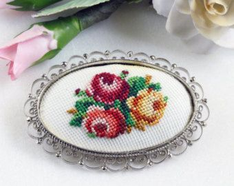 Vintage Petit Needlepoint Brooch, exquisite with yellow, pink, orange rose cluster, dainty filigree frame
