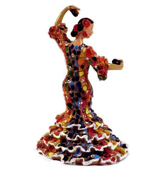 Figura de resina de bailaora de flamenco con castañuelas de la marca Barcino. Disponemos de dos tamaños, la grande mide 13 cm  y la pequeña 8 cm de altura.
