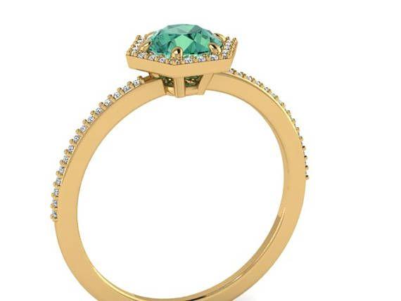 Hexagon shape diamond ring Custom made geometric rings Green