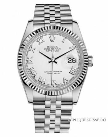 7703c5edc9a Réplique Montre Rolex Datejust 36mm acier cadran blanc Jubile Bracelet  116234 WRJ à vendre.