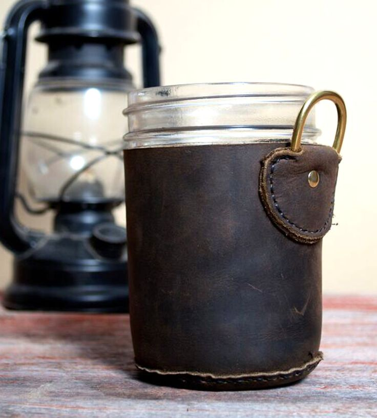 Leather Mason Jar Holder   Carrying coffee or tea around in a Mason jar can get a little       Cup Sleeves