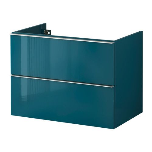 ГОДМОРГОН Шкаф для раковины с 2 ящ - 80x47x58 см, глянцевый бирюзовый - IKEA