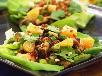 Vegetable Lettuce Wraps (Sin Cai Bao) - we added tofu