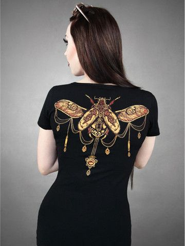 Brown & Black Steampunk Beetle T-Shirt by Restyle at Anomalie Clothing - http://anomalieclothing.com.au/products/brown-black-steampunk-beetle-t-shirt-restyle - This kooky Restyle t-shirt features. V-neck neckline, short sleeves, cotton fabric with 5% elastan for stretch, double seams. This shirt stretches for a perfect fit.