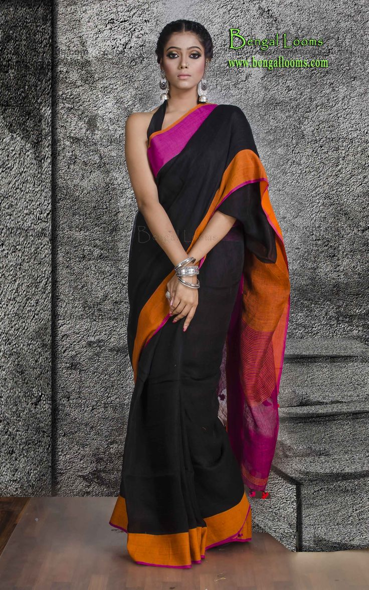 Pure Linen Saree in Black, Rani and Orange