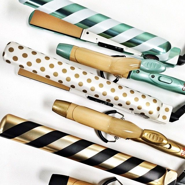 The CHI Air holiday iron collection. Available now at Target. White and gold polka dot straightener
