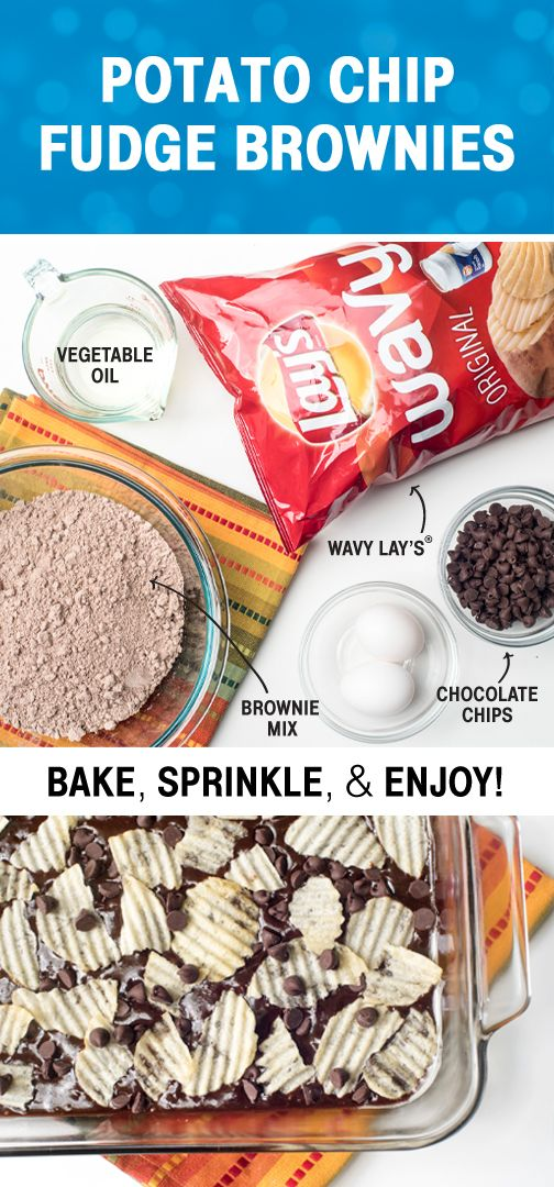 Sponsored by Frito-Lay   Chocolate + Wavy Lay's Original Potato Chips = one delicious dessert combination. Whether you're hosting a backyard barbecue or need a packable dish for an outdoor summer adventure, this sweet and salty treat is always a good idea. Check out this recipe for Potato Chip Brownies and more to see how you can include everyone's favorite Frito-Lay® products in your delicious summer menu.